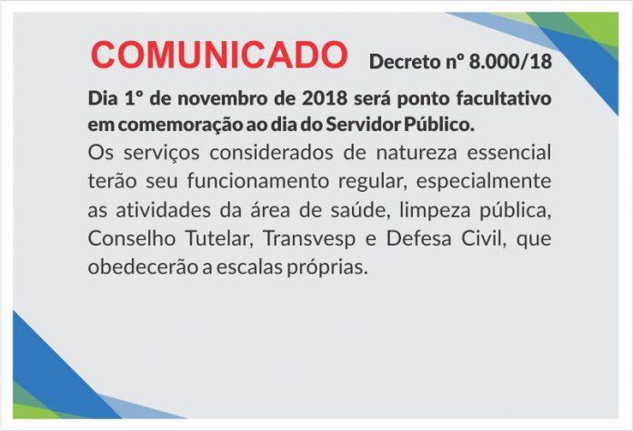 PONTO FACULTATIVO 1º-11-2018